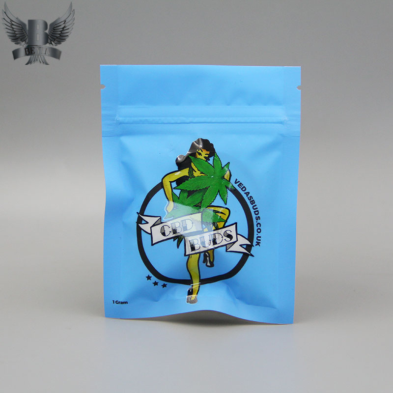 Custom cannabis packaging flat bags with matte surface 1g dried flower