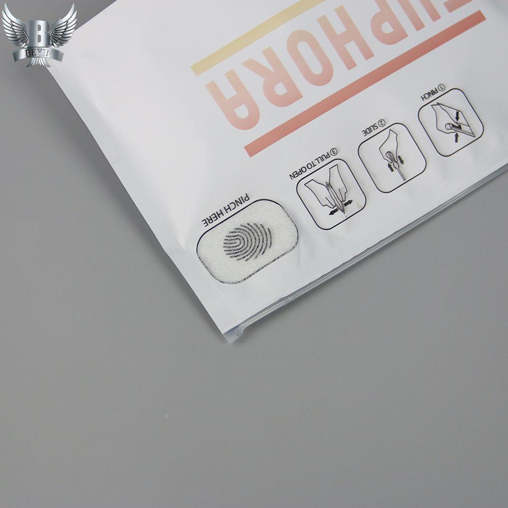Custom printed child resistance pinch N slid bag